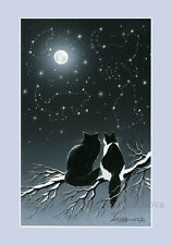 Cat Print Exploring Winter Constellations by Irina Garmashova