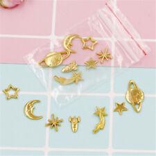7pcs/lot star moon universe Metal Gold Charm Cabochon UV Resin diy Charm craft E
