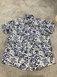 Mens Blue/white Flowery Shirt Size L From Matalan