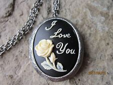 ROSE WITH I LOVE CAMEO ANTIQUED SILVER PLATED LOCKET - QUALITY - HEART