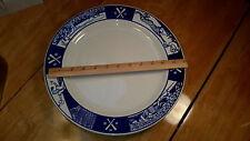 """Homer Laughlin Fishs Eddy Cobalt Blue Baseball Scenes Dinner Plate 12+"""" HTF"""