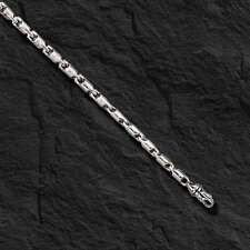 "18k white gold Cylinder Tube LINK Men's chain Bracelet  8"" 12 grams 3.5 MM"