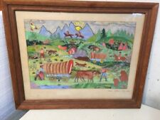 Vintage Folk Art Painting Western Scene Cowboys Native Americans Horse Theorem?