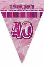 Pink Glitz 12ft Bunting - Choose From 13 Designs - Party Pennants Flag Banner