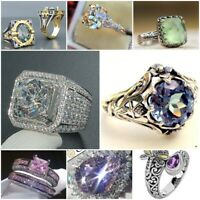 925 Silver Ring Jewelry Women White Topaz&Pink Sapphire Wedding Party Size 6-10