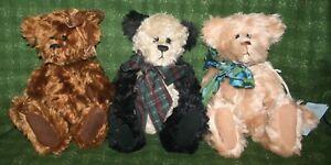 "Lot of 3 Vintage Artist Ruthie O'Neill Mohair Teddy Loves Company 15"" Bears"