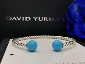 David Yurman Solari Bracelet with Diamonds and Turquoise, Size Medium