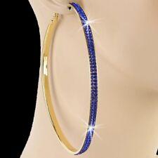 """3.9"""" SILVER GOLD Pave Set Crystal Rhinestone Cz HUGE BLING Hip Hop Hoop Earrings"""