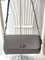 COACH F54849 Crossgrain Leather Taupe Crossbody Evening Shoulder Handbag $295