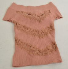 Bebe Womens Off Shoulder Silk Rib Knit Pink Lace Top XS