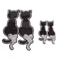 Black Cat Sequins Sew on Iron on Patch for Clothes DIY Patch Applique Access_TI