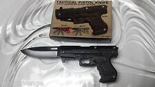 Police Tactical Combat Pistol Spring Assisted Open Pocket Knife Black Grip