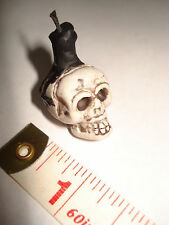 Witch Skull Candlestick with Black Candle - Halloween Dollhouse Miniature