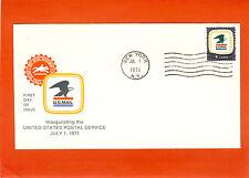 1971 FDC #1396 8c USPS Emblem Cachet July 1, 1971 New York, N.Y.