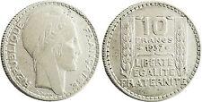 10  FRANCS  TURIN  ARGENT  ,  1937  ,  RARE  ET  BELLE