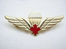 JUMP WINGS PIN CANADIAN RED LEAF PARACHUTE GOLD SERVICE LAPEL PIN CANADA PRIDE
