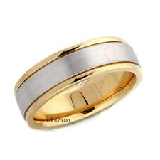 MENS 10K TWO TONE GOLD WEDDING BAND,WHITE AND YELLOW SOLID GOLD 6MM WEDDING RING