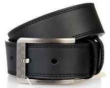 Men Belt Pure Real Genuine Leather Pin Lock Buckle Cow Skin Black 127236000-x