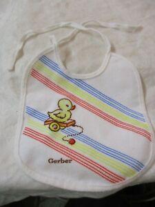 Vintage Gerber Baby Bib Duckling on cart