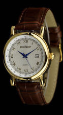 Pacifistor Mens Quartz Wrist Watch Date Gold Army Sport Brown Leather Waterproof