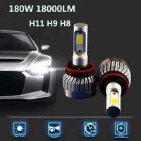 2pcs H11 H9 H8 180W 18000LM Car LED Headlight Bulbs Low Beam COB Kit 6000K White