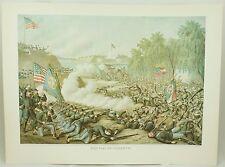 Battle of Corinth Vintage Civil War Kurz & Allison Lithograph Folio Print
