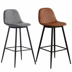 PU Leather Bar Stool Diamond velvet Metal Legs Dining Room Chairs Pub Modern New