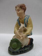 PRESEPIO PRESEPE vecchia statuina gesso pastore pastorello pecora