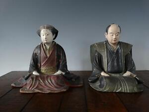 Rare Pair of Japanese Polychrome Painted Wood Figures or Deities Edo Period 18th
