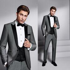 New Gray+Black Lapel Tuxedo Prom Evening Dress Suits For Men Jacket+Pants Custom