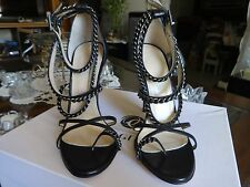Olcay Gulsen Strappy Chain High heel Sandals Black Leather Size 37