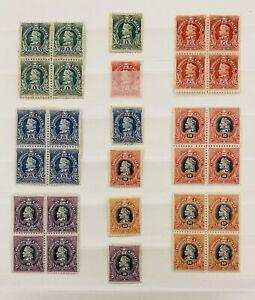 Chile 1901-1904 Colon Serie Completa Con Bloques De 4 Todo Nuevo Total 30 Sellos