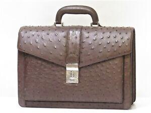 Ostrich Leather Briefcase Attache Laptop Bags Business Men Brown JAPAN 18628089
