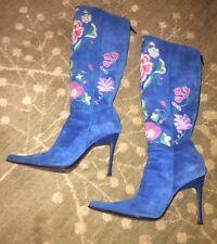 Casadei Blue Suede Floral Embellished Boots Size 5.5