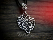 Round Celtic Wolf Knotted Pendant - 925 Sterling Silver --- Wolves/Viking/Norse