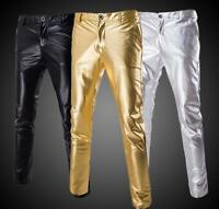 Shiny PU Metal Leather Punk Men Performance Stylish Skinny Outwear Dance Pants