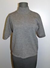 TALBOTS PETITES Charcoal Gray Turtleneck Short Sleeve 100 Wool Sweater PS DD1433