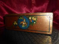 Vintage CWS Cream Crackers TIN 1930s Art Deco Bird Flowers Labor & Wait Harvest