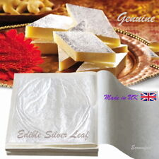 Edible Silver Leaf Pure 25 Sheets 9.5cm x 9.5cm Ideal for Wedding & Large Cakes