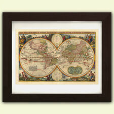 Vintage Antique reproduction World Map No1 -  art print A3 on satin 285gsm Paper