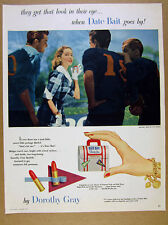 1951 Dorothy Gray DATE BAIT Lipstick pretty girl football players vintage Ad
