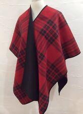Woolrich Reversable Blanket Wrap Red Plaid Plush Fleece Shawl EUC