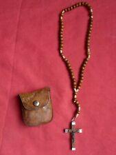 Old Rosary , ancien petit chapelet en bois souvenir de LOURDES