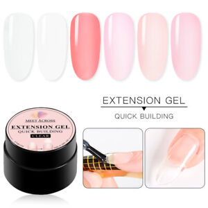 6X MEET ACROSS Poly Nail Extension Gel DIY Home Gel Manicure Peach Clear Pink