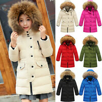Kids Girls Boys Winter Warm Thick Hooded Down Coat Down Jacket Padded Overcoat
