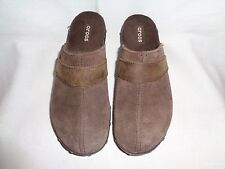 CROCS Brown Suede Studded Leather Clogs Women's Size US 10.