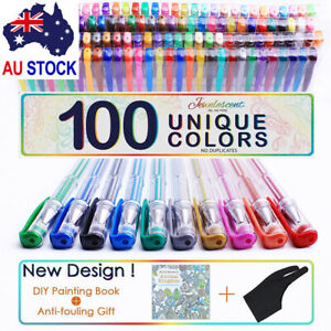 100Color Gel Pen Glitter Paint Neon Metallic Professional Art Drawing with Glove