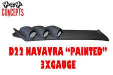 3 GAUGE PILLAR POD TO SUIT NISSAN NAVARRA D22 52mm NOT PAINTED Black