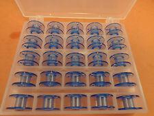 BOX OF 25 BOBBINS BLUE CLEAR PLASTIC Husqvarna Viking Emerald 116,118,183,203
