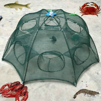 6 Holes Foldable Fishing Mesh Nylon Crab Shrimp Net Trap Cast Cage Fishing Bait